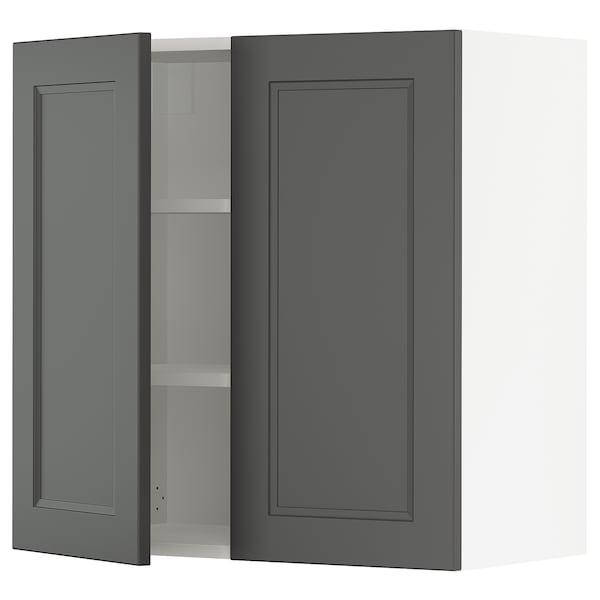 SEKTION Wall cabinet with 2 doors, white/Axstad dark gray, 30x15x30 ""