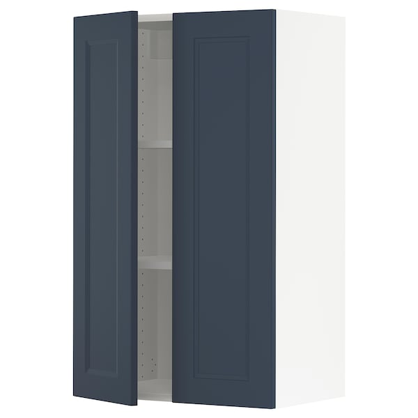SEKTION Wall cabinet with 2 doors, white Axstad/matte blue, 24x15x40 ""