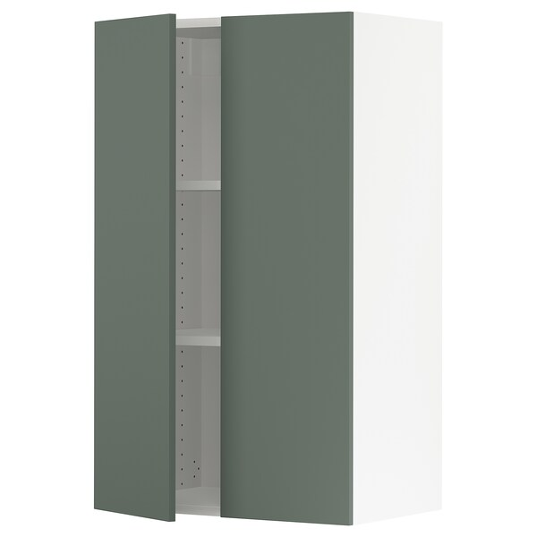 SEKTION Wall cabinet with 2 doors, white/Bodarp gray-green, 24x15x40 ""