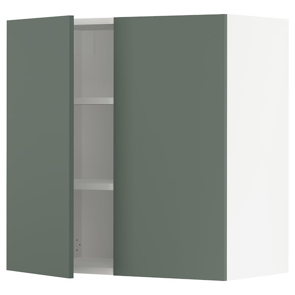 SEKTION Wall cabinet with 2 doors, white/Bodarp gray-green, 30x15x30 ""