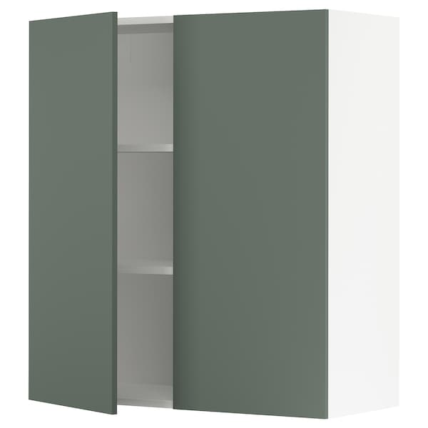 """SEKTION Wall cabinet with 2 doors, white/Bodarp gray-green, 36x15x40 """""""