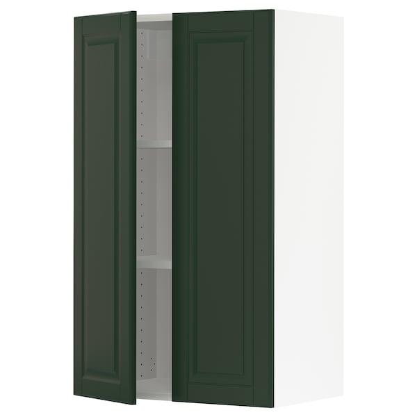 """SEKTION Wall cabinet with 2 doors, white/Bodbyn dark green, 24x15x40 """""""