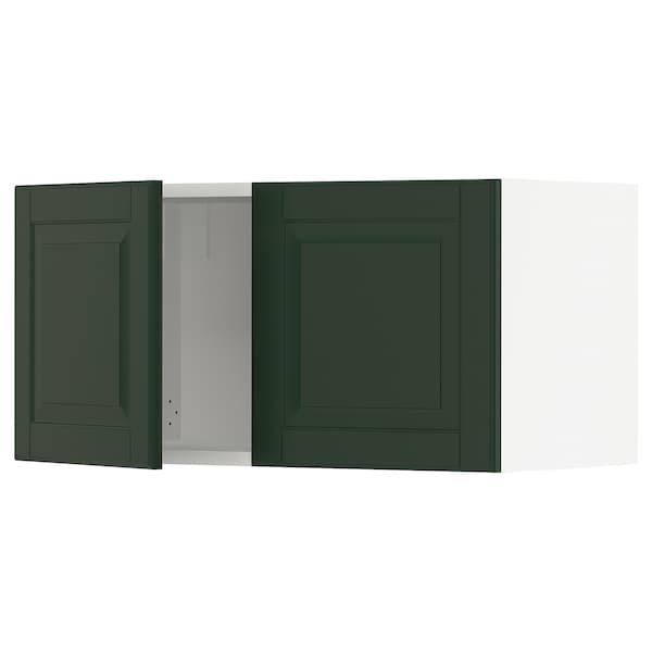 SEKTION Wall cabinet with 2 doors, white/Bodbyn dark green, 30x15x15 ""