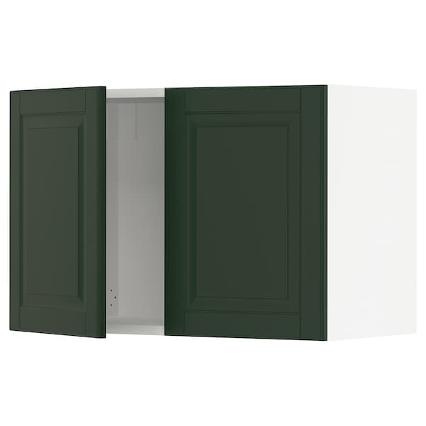 SEKTION Wall cabinet with 2 doors, white/Bodbyn dark green, 30x15x20 ""
