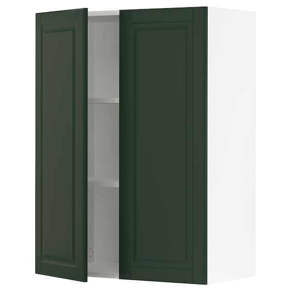 SEKTION Wall cabinet with 2 doors, white/Bodbyn dark green, 30x15x40 ""
