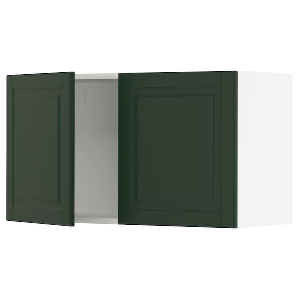 """SEKTION Wall cabinet with 2 doors, white/Bodbyn dark green, 36x15x20 """""""