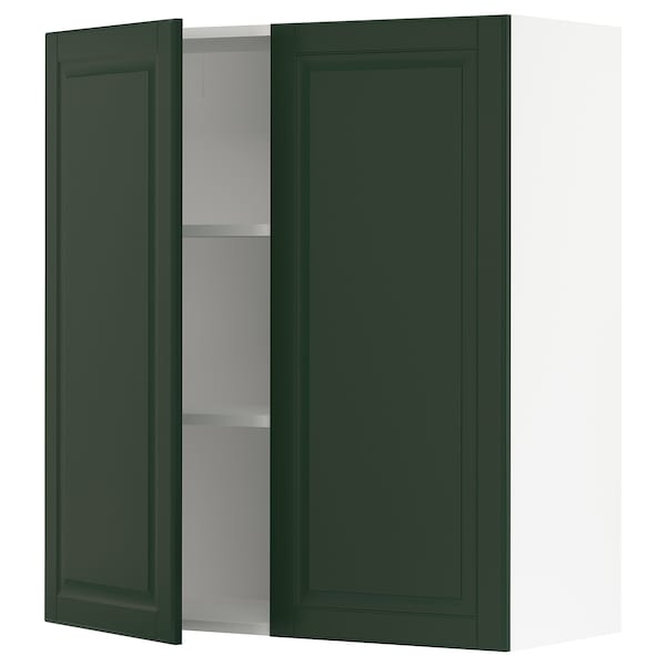 SEKTION Wall cabinet with 2 doors, white/Bodbyn dark green, 36x15x40 ""
