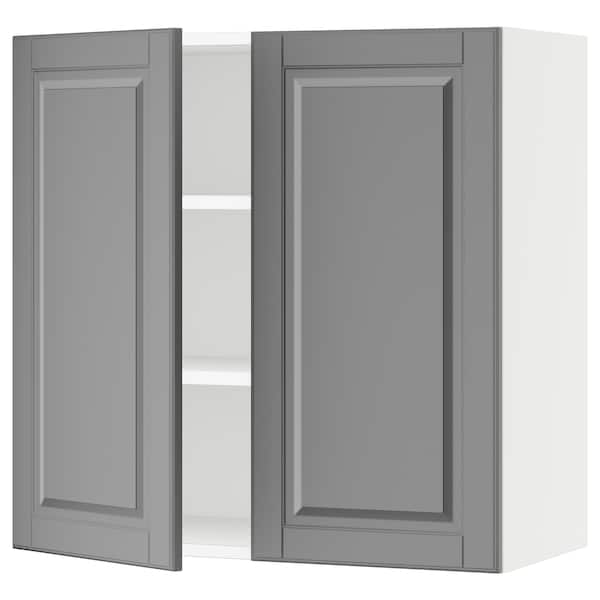 """SEKTION Wall cabinet with 2 doors, white/Bodbyn gray, 30x15x30 """""""