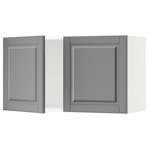 """SEKTION Wall cabinet with 2 doors, white/Bodbyn gray, 36x15x20 """""""