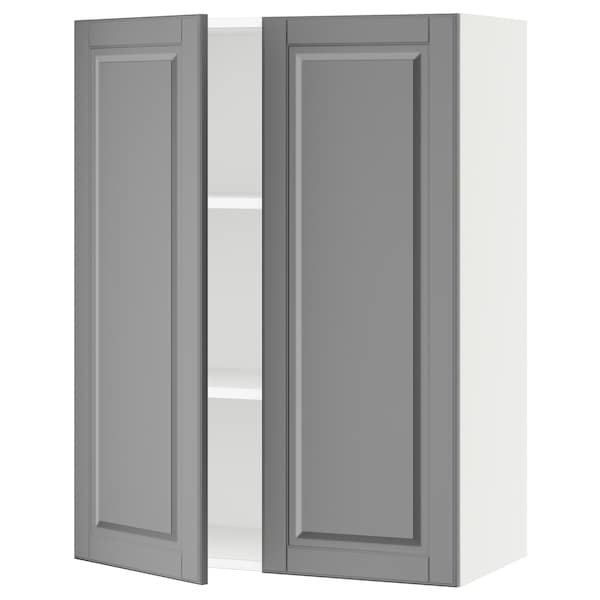 """SEKTION Wall cabinet with 2 doors, white/Bodbyn gray, 30x15x40 """""""