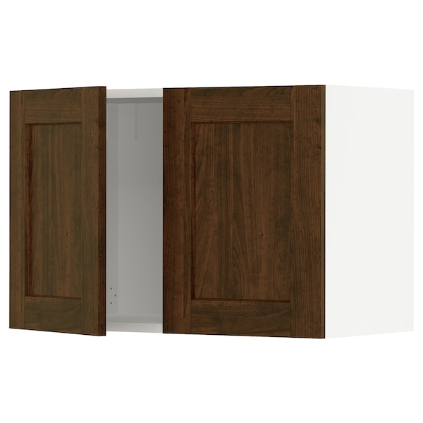 """SEKTION Wall cabinet with 2 doors, white/Edserum brown, 30x15x20 """""""