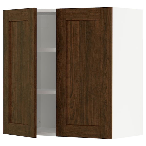 """SEKTION Wall cabinet with 2 doors, white/Edserum brown, 30x15x30 """""""