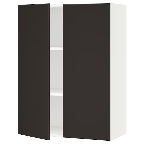 """SEKTION Wall cabinet with 2 doors, white/Kungsbacka anthracite, 30x15x40 """""""