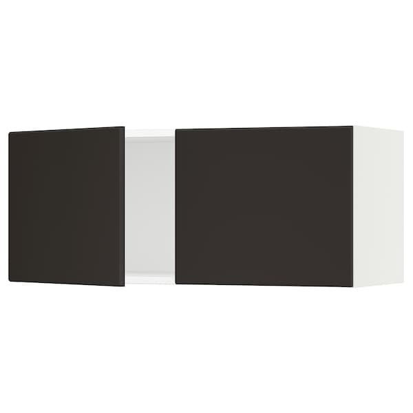 """SEKTION Wall cabinet with 2 doors, white/Kungsbacka anthracite, 36x15x15 """""""