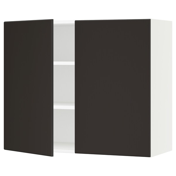 """SEKTION Wall cabinet with 2 doors, white/Kungsbacka anthracite, 36x15x30 """""""