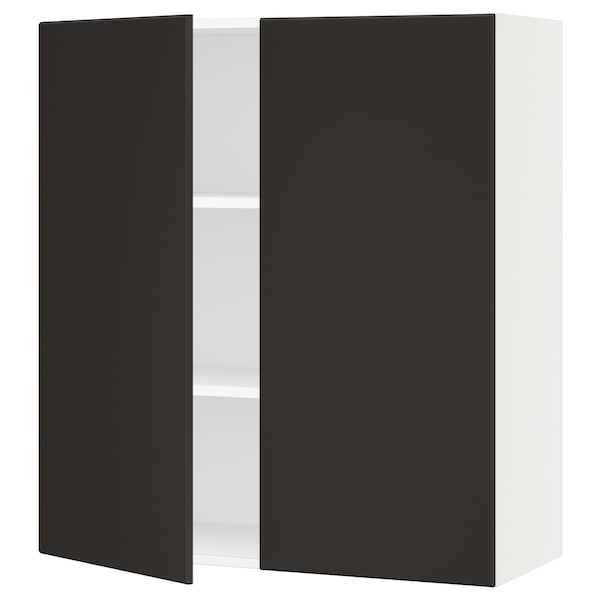 """SEKTION Wall cabinet with 2 doors, white/Kungsbacka anthracite, 36x15x40 """""""