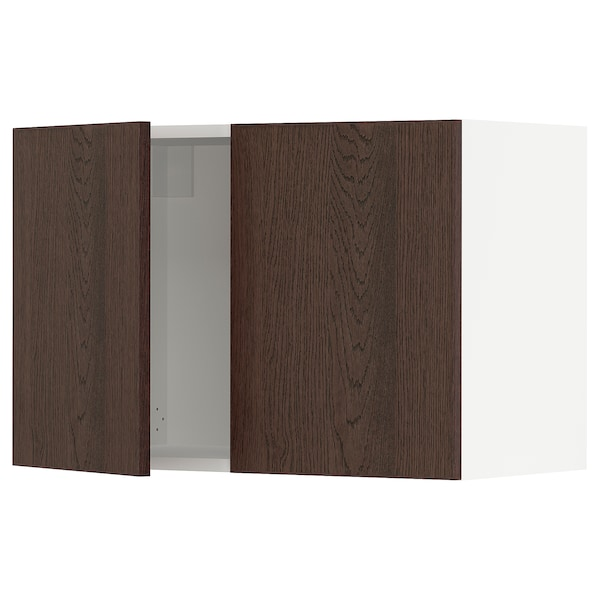 SEKTION Wall cabinet with 2 doors, white/Sinarp brown, 30x15x20 ""