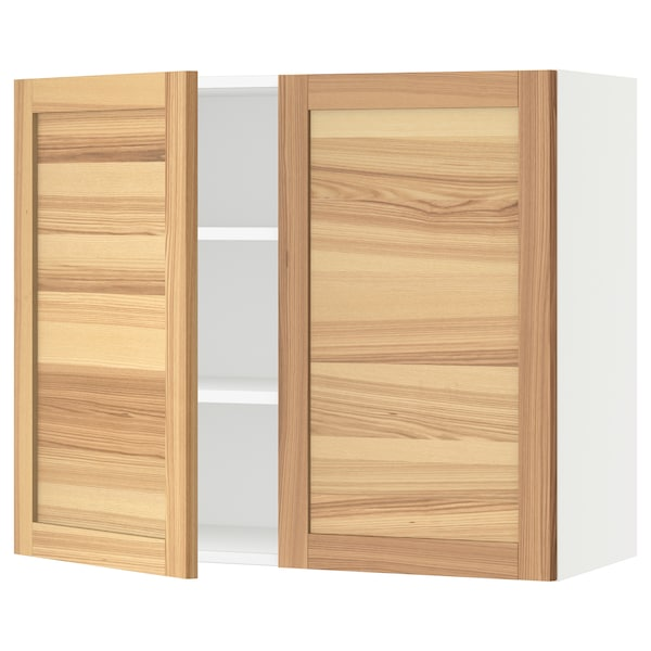 """SEKTION Wall cabinet with 2 doors, white/Torhamn ash, 36x15x30 """""""