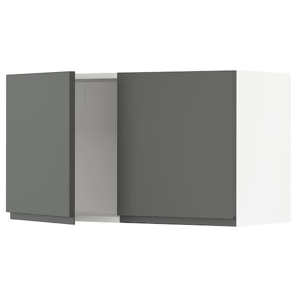SEKTION Wall cabinet with 2 doors, white/Voxtorp dark gray, 36x15x20 ""