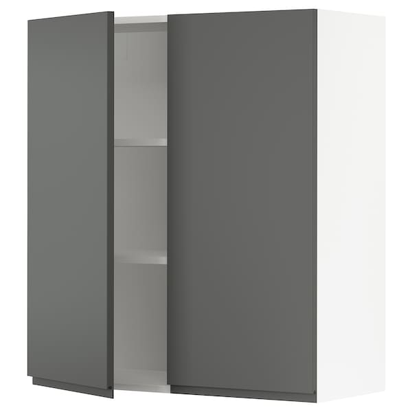 SEKTION Wall cabinet with 2 doors, white/Voxtorp dark gray, 36x15x40 ""