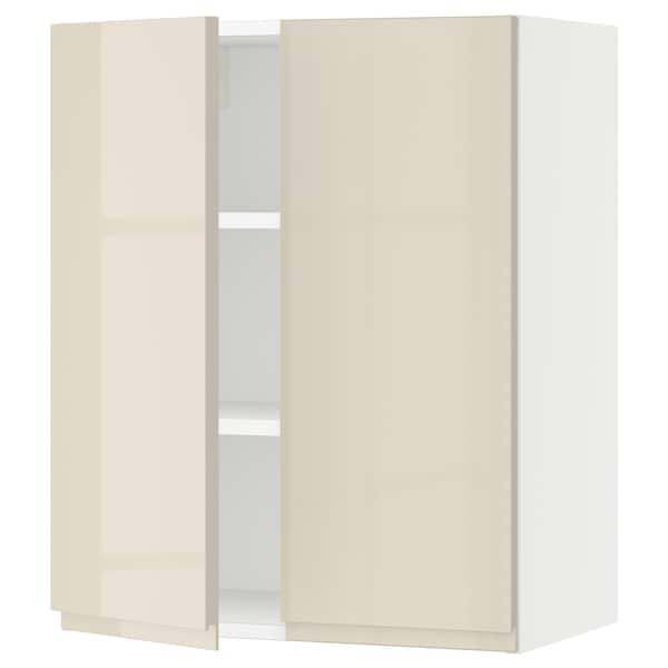 """SEKTION Wall cabinet with 2 doors, white/Voxtorp high-gloss light beige, 24x15x30 """""""