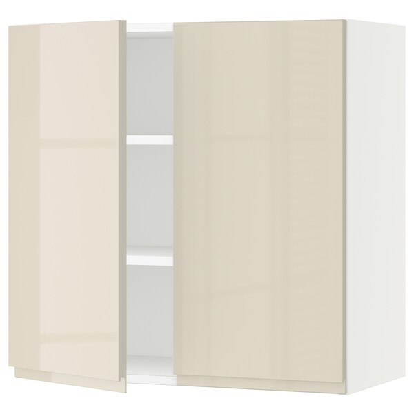"""SEKTION Wall cabinet with 2 doors, white/Voxtorp high-gloss light beige, 30x15x30 """""""
