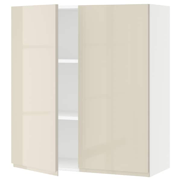 SEKTION Wall cabinet with 2 doors, white/Voxtorp high-gloss light beige, 36x15x40 ""