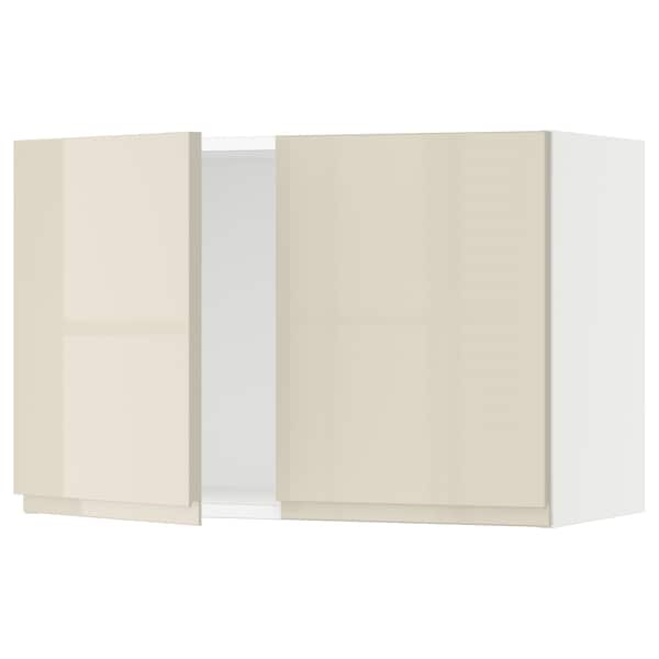 SEKTION Wall cabinet with 2 doors, white/Voxtorp high-gloss light beige, 30x15x20 ""