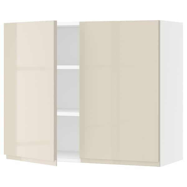 """SEKTION Wall cabinet with 2 doors, white/Voxtorp high-gloss light beige, 36x15x30 """""""