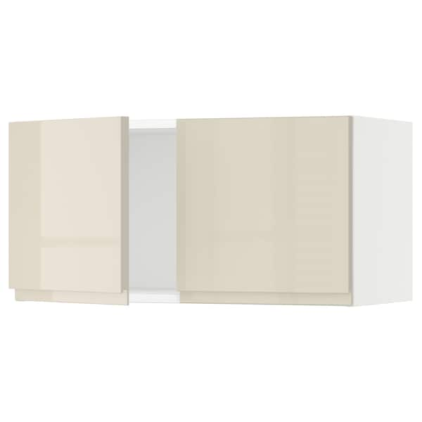 """SEKTION Wall cabinet with 2 doors, white/Voxtorp high-gloss light beige, 30x15x15 """""""