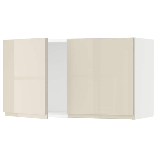 """SEKTION Wall cabinet with 2 doors, white/Voxtorp high-gloss light beige, 36x15x20 """""""