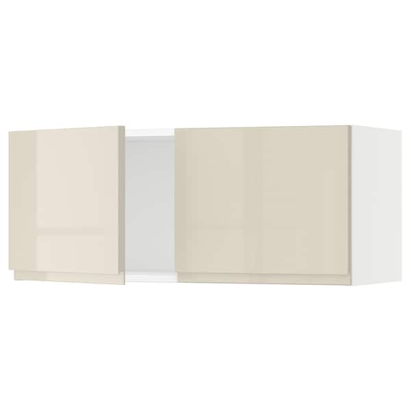 """SEKTION Wall cabinet with 2 doors, white/Voxtorp high-gloss light beige, 36x15x15 """""""