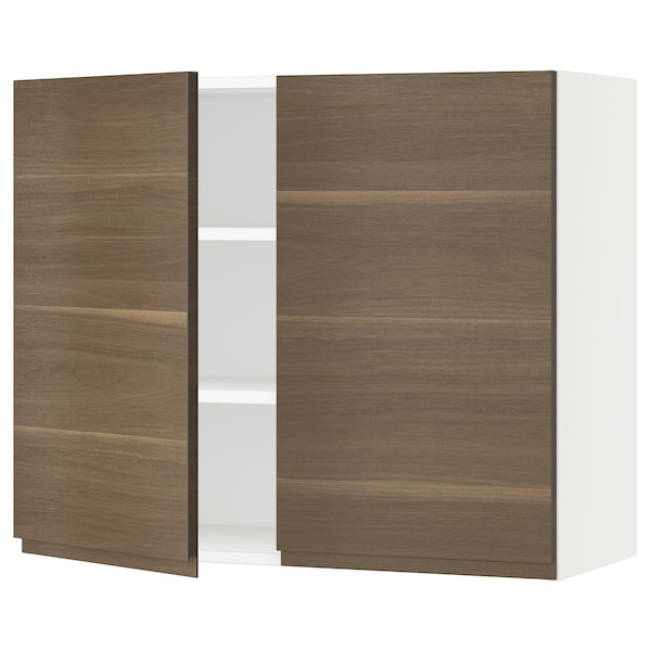 SEKTION Wall cabinet with 2 doors, white/Voxtorp walnut effect, 36x15x30 ""