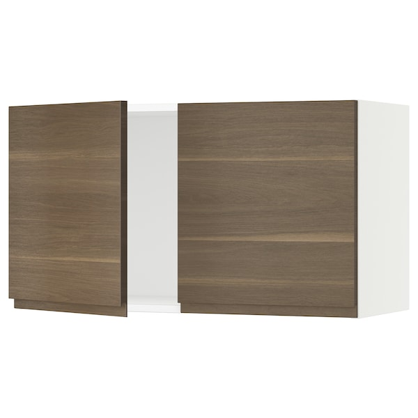 """SEKTION Wall cabinet with 2 doors, white/Voxtorp walnut effect, 36x15x20 """""""
