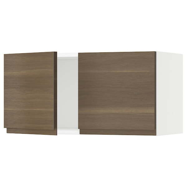 """SEKTION Wall cabinet with 2 doors, white/Voxtorp walnut effect, 30x15x15 """""""