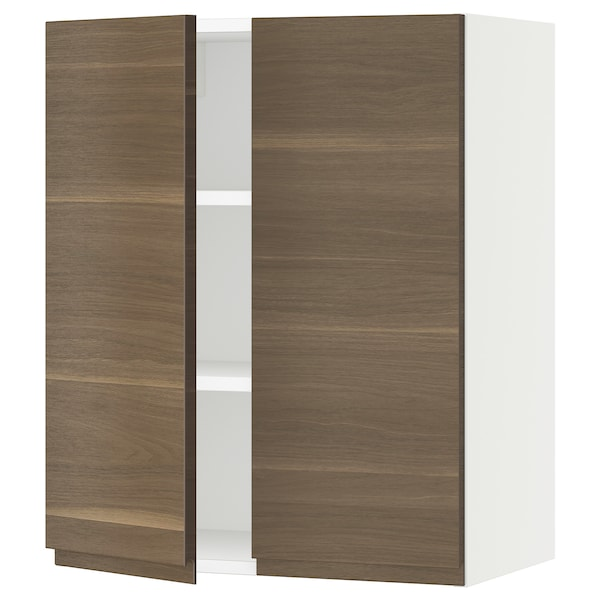 """SEKTION Wall cabinet with 2 doors, white/Voxtorp walnut effect, 24x15x30 """""""