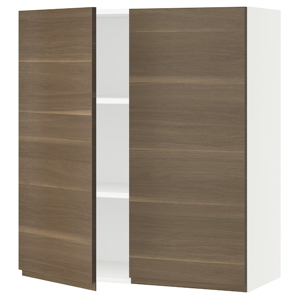 SEKTION Wall cabinet with 2 doors, white/Voxtorp walnut effect, 36x15x40 ""