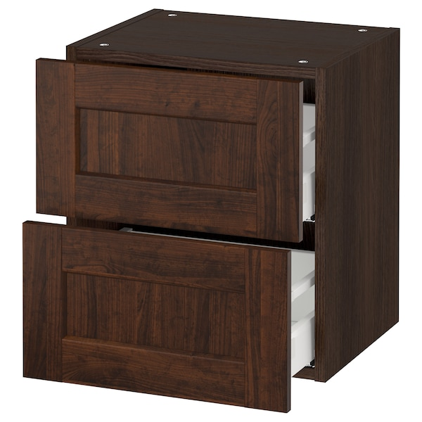 """SEKTION Wall cabinet with 2 drawers, brown Maximera/Edserum brown, 18x15x20 """""""