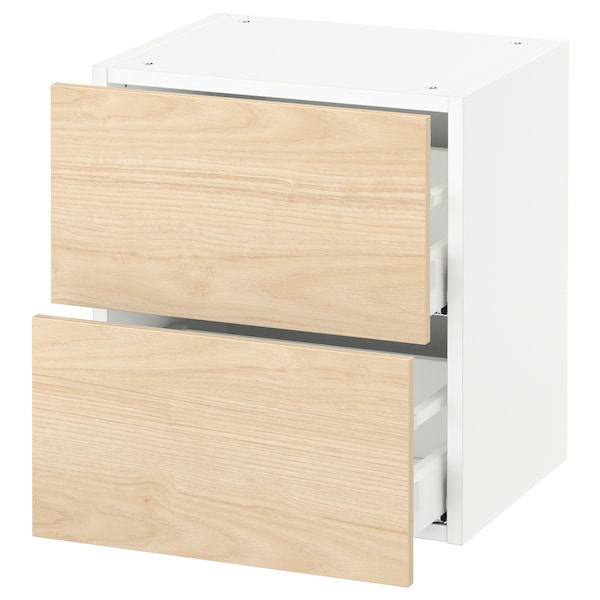 """SEKTION Wall cabinet with 2 drawers, white Maximera/Askersund light ash effect, 18x15x20 """""""