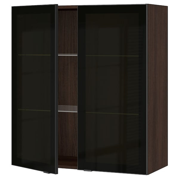 SEKTION Wall cabinet with 2 glass doors, brown/Jutis smoked glass, 36x15x40 ""