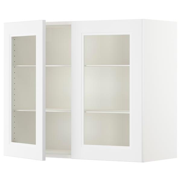 "SEKTION Wall cabinet with 2 glass doors, white/Axstad matt white, 36x15x30 """