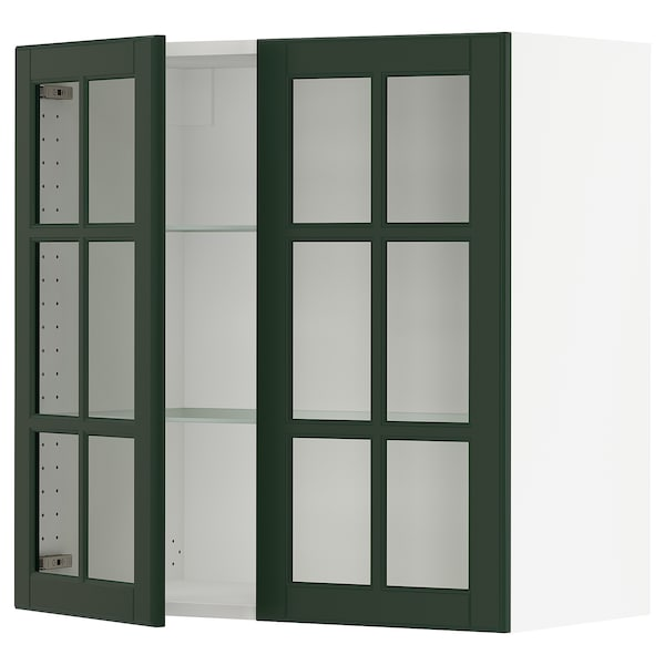 """SEKTION Wall cabinet with 2 glass doors, white/Bodbyn dark green, 30x15x30 """""""