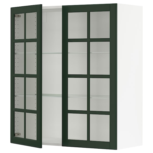 """SEKTION Wall cabinet with 2 glass doors, white/Bodbyn dark green, 36x15x40 """""""