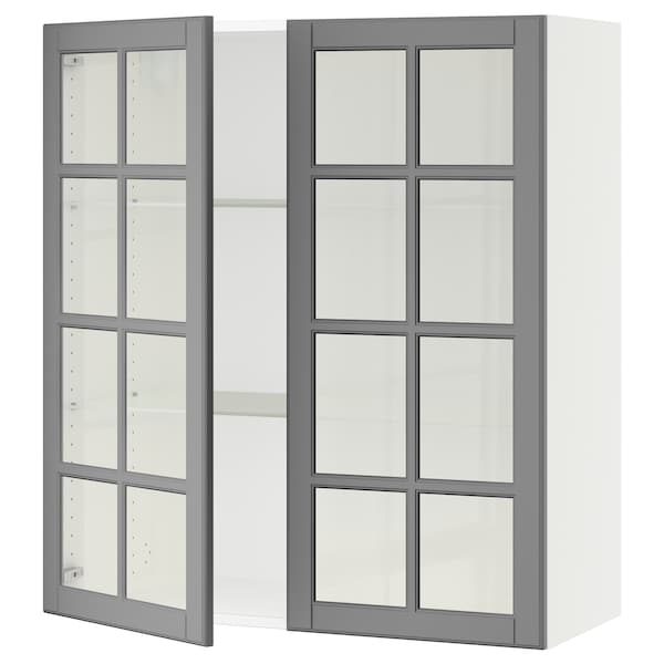 """SEKTION Wall cabinet with 2 glass doors, white/Bodbyn gray, 36x15x40 """""""
