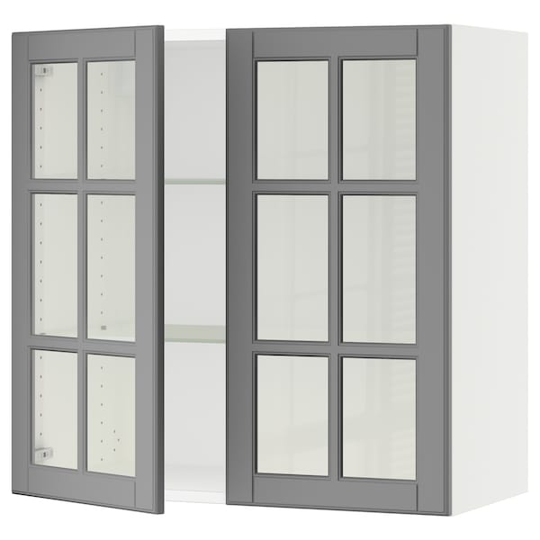 """SEKTION Wall cabinet with 2 glass doors, white/Bodbyn gray, 30x15x30 """""""