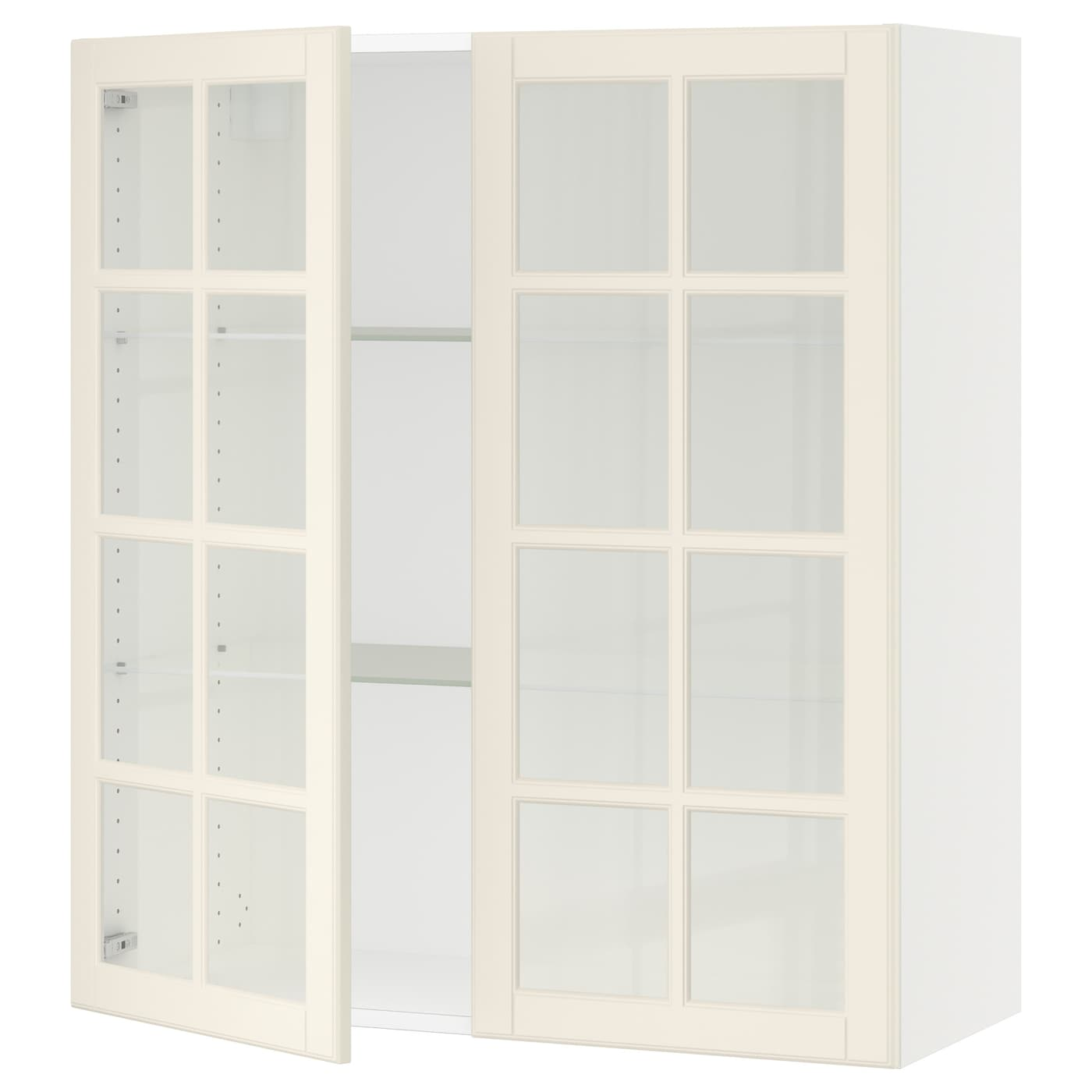 SEKTION Wall cabinet with 2 glass doors - white, Bodbyn ...