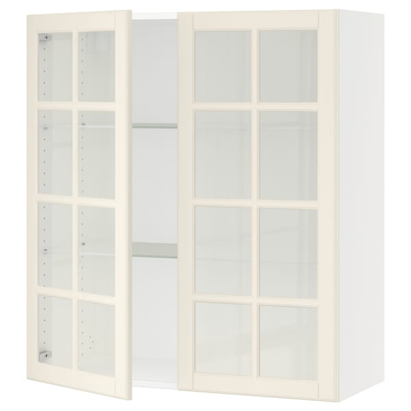 SEKTION Wall cabinet with 2 glass doors, white/Bodbyn off-white, 36x15x40 ""