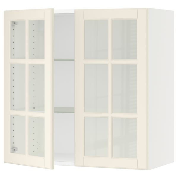 """SEKTION Wall cabinet with 2 glass doors, white/Bodbyn off-white, 30x15x30 """""""
