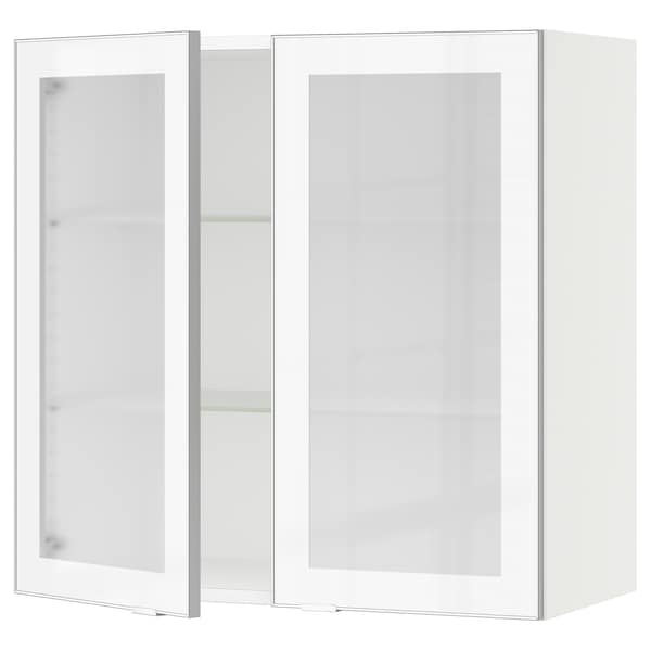 """SEKTION Wall cabinet with 2 glass doors, white/Jutis frosted glass, 30x15x30 """""""