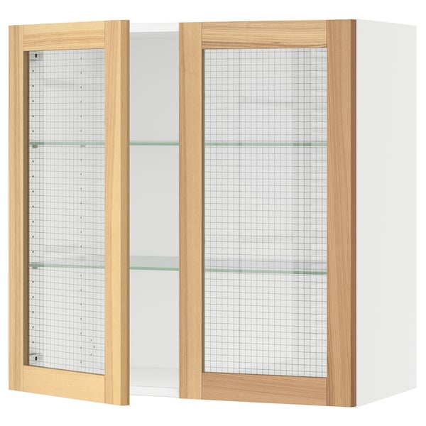 """SEKTION Wall cabinet with 2 glass doors, white/Torhamn ash, 30x15x30 """""""